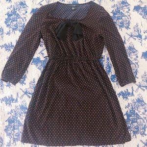 Vintage polka dot long sleeve bow mini dress